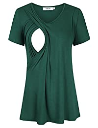MissQee Maternity Nursing Tops Short Sleeve Breastfeeding T-Shirts