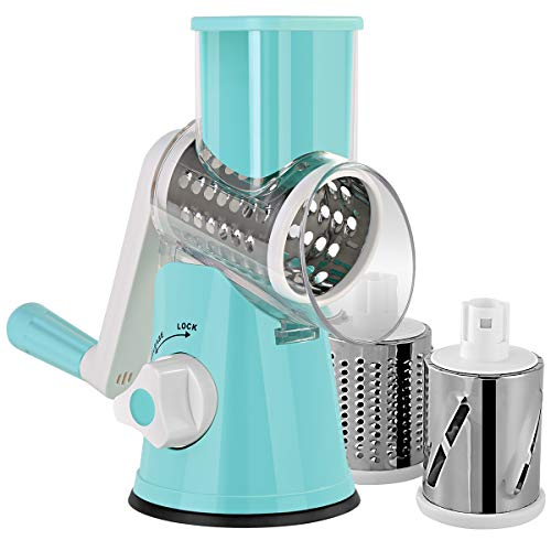 Lijade Multifunctional Rotary Mandoline Slicer Grinder,Vegetable Chopper,Nut Cheese Shredder,Cabbage Veggie Cutter with Round Graters Kitchen Chopping Tool