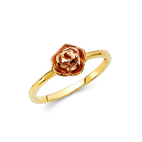 14k Rose Yellow Gold Rose Ring Flower Band Cocktail Ring Diamond Cut Floral Style Two Tone Size 6