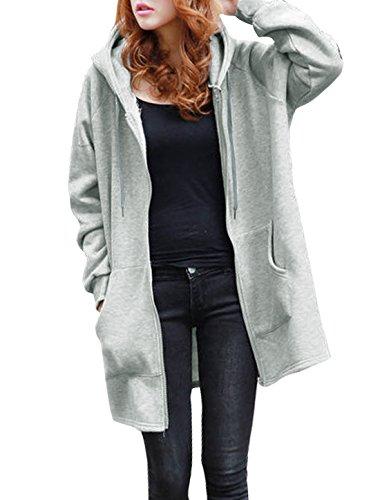 uxcell Lady Hooded Skull Prints Kangaroo Pocket Tunic Sweatshirt Gray M