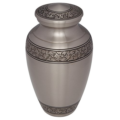Silver Funeral Urn by Liliane Memorials - Cremation Urn for Human Ashes - Hand Made in Brass -Suitable for Cemetery Burial or Niche - Large Size fits remains of Adults up to 200 lbs- Treviso Silver L by Liliane Memorials (Image #2)
