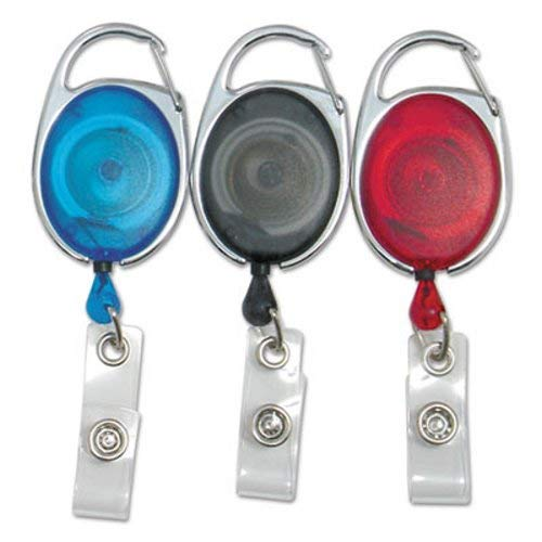 Baumgartens 68769 Quick Clip Card Reels, 30 Inch Extension, Red/Blue/Smoke, 3/Pack