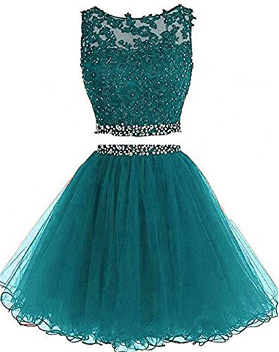 Teal Homecoming Dress (Dydsz Short Prom Dress Homecoming Party Dresses Juniors 2 Piece Beaded A Line Cocktail Gown D127 Teal 6)