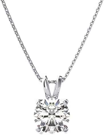 3.0 ct Brilliant Round Cut Highest Quality Moissanite Ideal VVS1 D Solitaire Pendant Necklace With 18