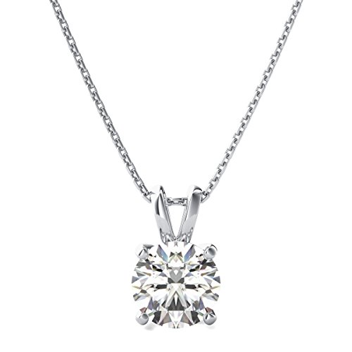 Clara Pucci 2.0 CT Brilliant Round Cut Simulated Diamond CZ 14K White Gold Solitaire Pendant Box Necklace 18