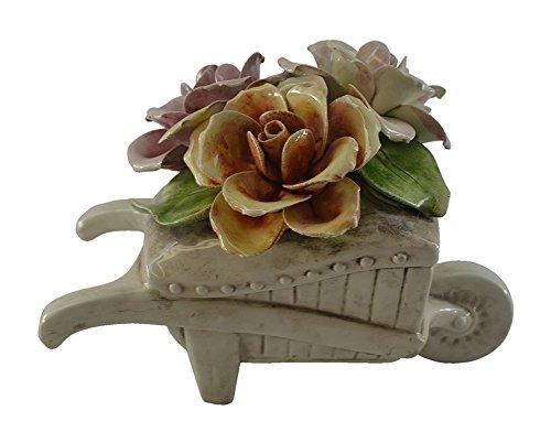 Authentic Italian Capodimonte Wheel Barrel With Flowers