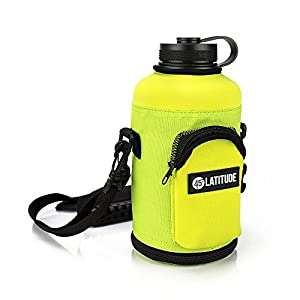 Beer Growler 64oz Protective Carrier Tote Black Nylon & Neoprene Sleeve with Shoulder Strap (Bottle Sold Separately) Fits Hydro Flask and Other Popular Brands -Yellow
