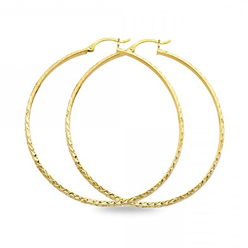 Big Round Hoops 14k Yellow Gold Square Tube Earrings French Lock Polished Fancy Design 45 x 3 mm