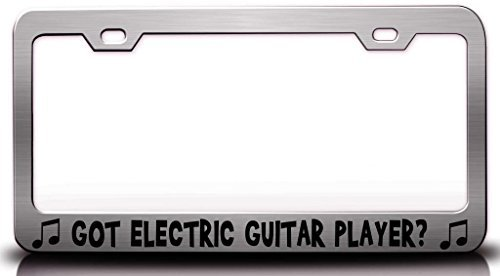 License Plate Covers Got Electric Guitar Player With Music Note Steel Metal License Plate Frame Chrome