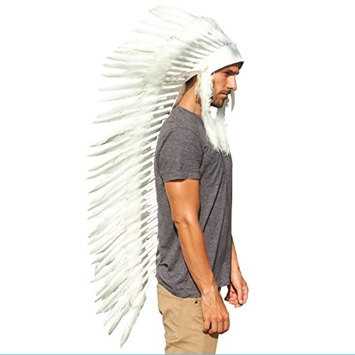 Extra Long Feather Headdress- Native American Indian Inspired- Handmade Halloween Costume for Men Women with Real Feathers - All White (All White Costume)