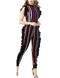 Womens Sleeveless Stripe High Neck Ruffle High Waist...