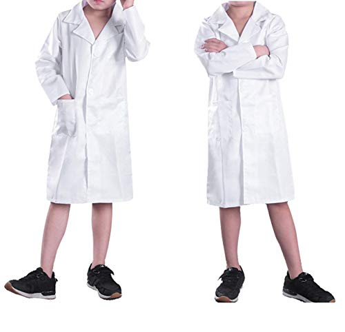 CHICTRY Kids Boys Girls White Lab Coat Fancy Party Doctor Uniform Child Halloween Cosplay Costume White -