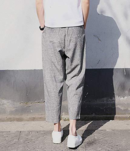 Tinta Da Tasche Unita Grey Amayay Lunghi In Semplice Comodi Stile Con Uomo Pantaloni Lino qqwPxtvpU
