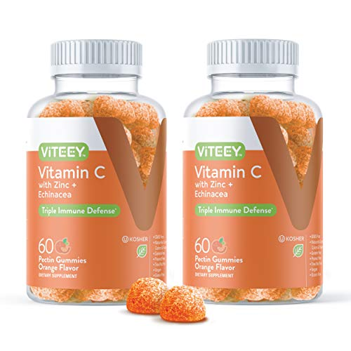 Vitamin C Gummies Plus Zinc & Echinacea [3 in 1 Immune Support Booster] Herbal Dietary Supplements, Vegan, Plant Based Pectin - Good for Adults Teens & Kids - Orange Flavor Gummy [60 Count 2-Pack]