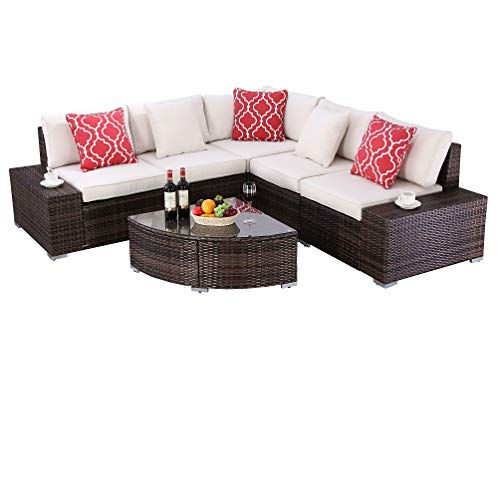 HTTH 6 Pieces Outdoor Patio Garden Furniture Sofa Chair Set Lawn Pool Backyard Sofa Chairs Wicker...