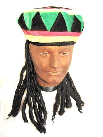 Rasta Fancy Dress Hat & Short Dreads Inc FREE Wig Cap