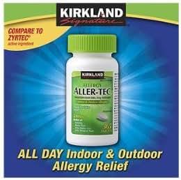 Kirkland Signature Aller-Tec Cetirizine Hydrochloride Tablets, 10 mg, 1095 Count Pack