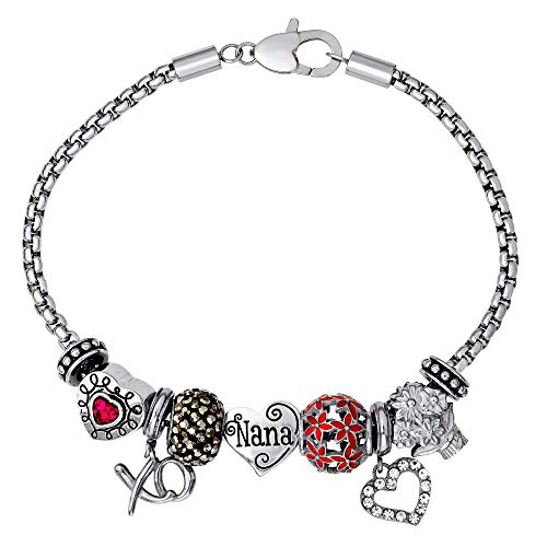 Connections from Hallmark Nana Stainless Steel Charm and Bead Bundle Bracelet, 8.25'