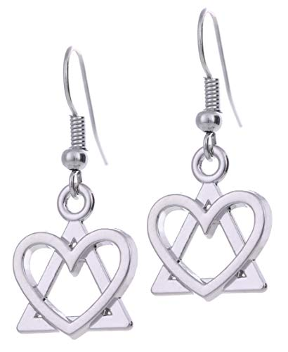 TEAMER Adoption Symbol Earrings Heart and Triangle Pendant Earrings Jewelry for Women ()