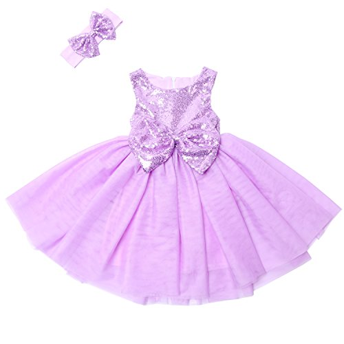 Cilucu Flower Girl Dresses Toddlers Sequin Party Dress Tutu Baby Prom Pageant Dresses Gown Kids Sleeveless Purple/Lavender 2T-3T