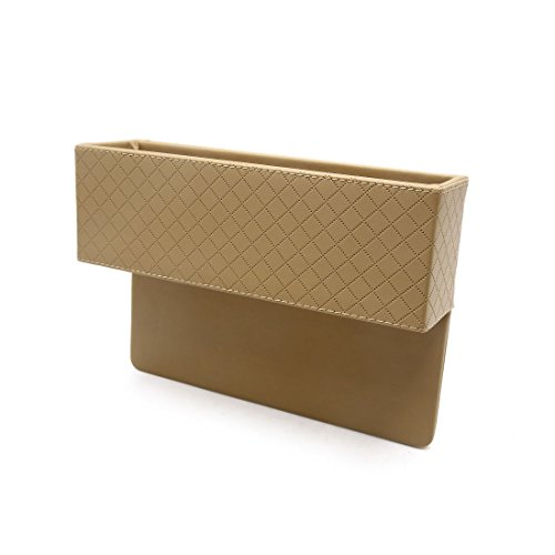 (uxcell Beige Faux Leather Car Seat Gap Slit Pocket Storage Box Organizer Phone Holder)