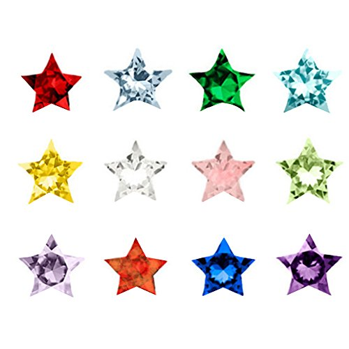 Happy Hours - 12 Colors Assorted Mix Stars Birthstones / 120 Pcs Crystal Charms for Floating Charm Living Memory Lockets