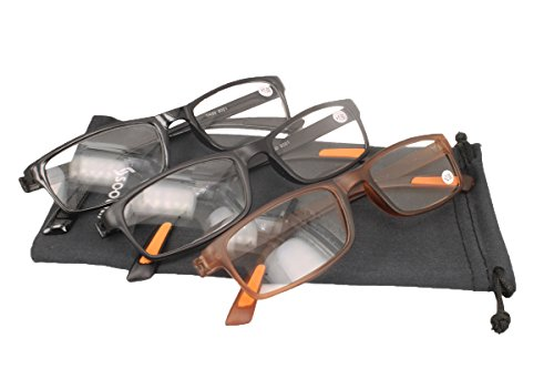 SOOLALA Best Value 3-Pair Lightweight TR90 Unbreakable Magnifying Reading Glasses 2.5D