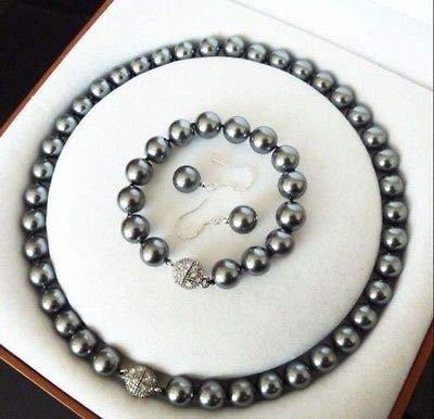 FidgetFidget 10mm Grey South Sea Shell Pearl Necklace 18'' Bracelet 7.5'' Earrings Set PN638