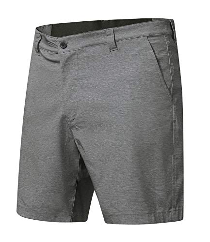 Men's Cool Waterproof Hidden Expandable Waist Plain Front Classic Fit Golf Shorts,Grey,XL ()