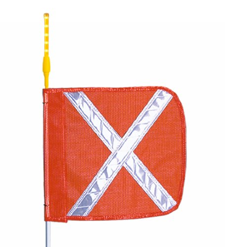 (Flagstaff G10 Safety Flag with White Reflective X and LED Light, Threaded Hex Base, 12