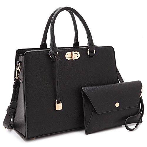 Maya Karis Purse Women Designer Handbags and Purses Ladies Shoulder Bag Hobo Bag Top Handle Satchel Tote Work Bag with Wallet Wristlet (7581 Black), Medium (Best Business Bag Brands)