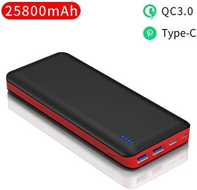 Bateria Externa Carga Rápida 25800mAh Power Bank Ultra Capacidad Cargador Portátil Movil con Tipo-C QC3.0 y Dos Salidas de 3A, 4led para IPhone, ...