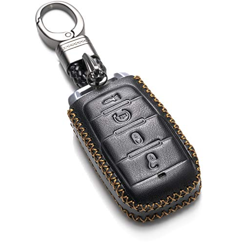 Vitodeco Genuine Leather Keyless Entry Remote Control Smart Key Case Cover with Leather Key Chain for 2019 RAM 1500 (4-Button, Black)