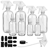 Glass Spray Bottle, ESARORA Clear Glass Spray Bottle Set for Essential Oils - Cleaning Products - Aromatherapy (16OZ x 2, 8OZ x 2, 4OZ x 2, 2OZ x 2)