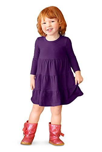 City Threads Little Girls' Cotton Long Sleeve Tiered Ruffle Dress, Purple, 2T (Best Parties In The Usa)