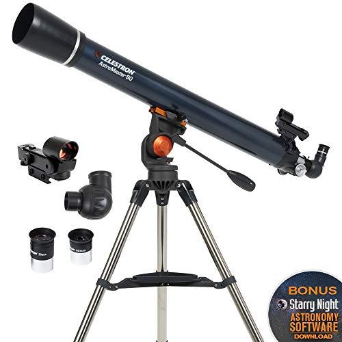 Celestron - AstroMaster 90AZ Refractor Telescope - Refractor Telescope for Beginners - Fully-Coated Glass Optics - Adjustable-Height Tripod - BONUS Astronomy Software Package