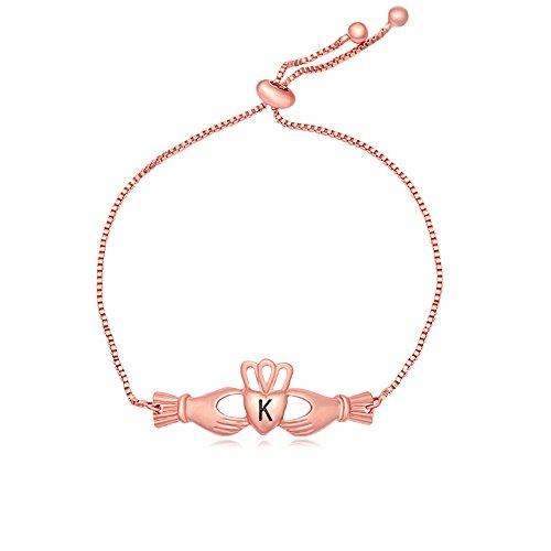 SENFAI Claddagh Heart Shaped Single Initial Letters Easy Expandable Bracelet 3 Tone 11