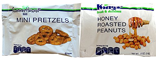Price comparison product image King Nut Airline Size VARIETY PACK Honey Roast Peanuts and Mini Pretzels (100 / .5-Ounce Airline Size Bags)