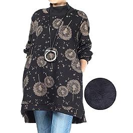 Minibee Women's Turtleneck Tunic Casual Print Pullover Long Sleeve Sweatshirt Tops with Pockets