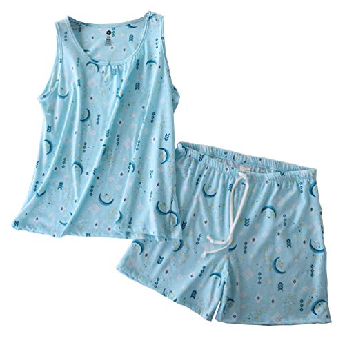 ENJOYNIGHT Women's Cute Sleeveless Print Tee and Shorts Sleepwear Tank Top Pajama Set (Large, Moon)