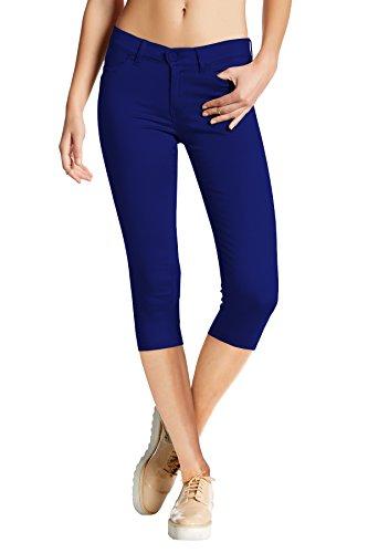 Women's Hyper Stretch Denim Capri Jeans Q44876 Royal Small