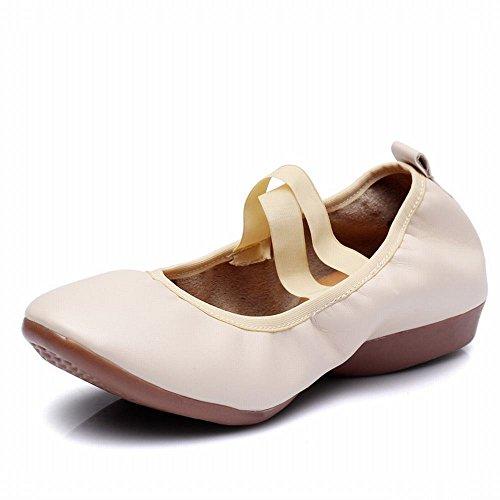 BYLE Sandalias de Cuero Tobillo Modern Jazz Samba Zapatos de Baile Zapatos de Baile Zapatos Planos con Fondo Blando Lienzo Atado Zapatos Cerrados Onecolor