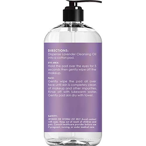 MAJESTIC PURE Lavender Cleansing Oil - Makeup Remover for Eye and Face - Oil Cleanser, for All Skin Types, 8 fl oz