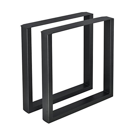 [en.casa] 2 x Conjunto de Patas de Mesa - Set de 2X Patas de Mesa - Metal - Patas de los Muebles - 70 x 72 cm - para Mesa de Comedor - Armazon de Mesa - con proteccion para Suelo - Negro