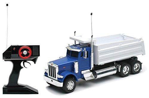 (NewRay New 1:32 RC Radio Control Collection - Blue White Peterbilt Model 379 Dump Truck Model)