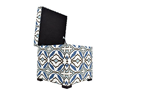 MJL Furniture Designs Tami Collection Fabric Upholstered Lift Top Storage Foot Rest Cube Ottoman, Eden Series, Blue Cadet