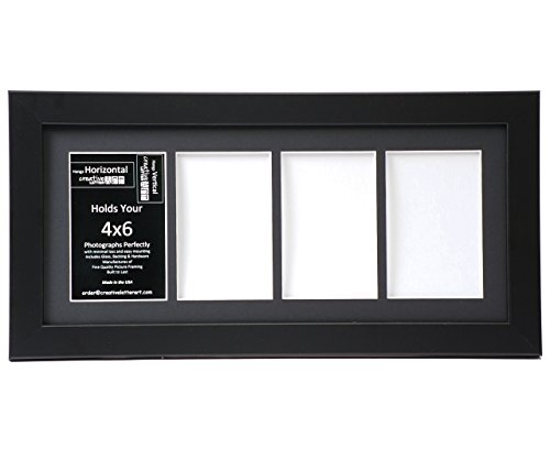 Creative Letter Art CreativeLetterArt [8x18bk-b] 4 Opening Black Picture Frame Holds 4x6 Media with Black Collage Mat and Glass Face Creative Letters