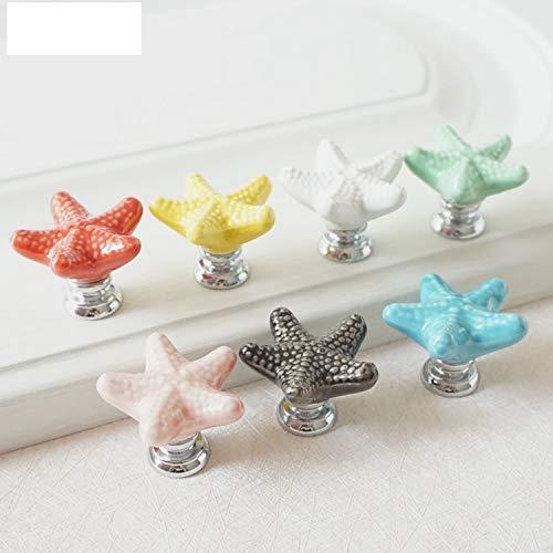 Ceramic Colorful Dresser Knobs Starfish Drawer Cabinet Knobs Kitchen Cupboard Knobs Decorative Handle (Green)