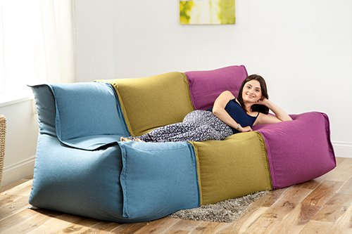 High Quality Fun!ture Olive Zip Together Modular Bean Bag Lounger Seating Sofa:  Amazon.co.uk: Kitchen U0026 Home