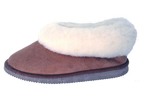 pantoufles chaussons pour hommes peau de mouton couleur café